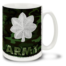 U.S. Army Officer Ranks mug - Choose Your Rank and either Woodland Camo or Digital Camo background.  This United States Army mug features your Officer rank insignia on either ACU Digital Camo or classic Woodland Camo. Cuppa's Army Officer Rank Mug is dishwasher and microwave safe and features the Army Emblem. Your U.S. Army Officer rank mug is sure to be a coffee break favorite!