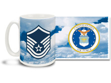 U.S.A.F. Enlisted Ranks mug - Choose Your Rank on a Daring Sky Background! This United States Air Force mug features your rank insignia on a vivid sky background. Cuppa's U.S.A.F. Rank Mug is dishwasher and microwave safe and features approved USAF Emblem. Your U.S. Air Force rank mug is sure to be a coffee break favorite!