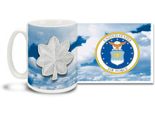 U.S.A.F. Officer Ranks mug - Choose Your Rank on a Daring Sky Background! This United States Air Force mug features your rank insignia on a vivid sky background. Cuppa's U.S.A.F. Rank Mug is dishwasher and microwave safe and features approved USAF Emblem. Your U.S. Air Force rank mug is sure to be a coffee break favorite!
