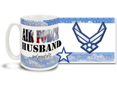 Show your pride in your United States Air Force wife with this colorful Air Force Husband and Proud coffee mug. U.S. Air Force mug also makes a great gift for your proud hubby! 15oz Air Force Husband Coffee Mug is dishwasher and microwave safe.