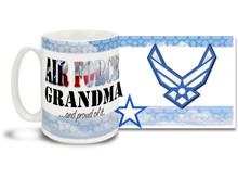 Show your pride in your United States Air Force grandchild with this colorful Air Force Grandma and Proud coffee mug. U.S. Air Force mug also makes a great gift for your proud Grandmother! 15oz Air Force Grandma Coffee Mug is dishwasher and microwave safe.