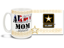 Show your pride in your United States Army Son or Daughter with this colorful Army Mom and Proud of It coffee mug. U.S. Army mug also makes a great gift for your proud mother! 15 oz Army Mom Coffee Mug is dishwasher and microwave safe.