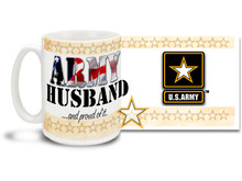Show your pride in your United States Army Wife with this colorful Army Husband and Proud of It coffee mug. U.S. Army mug also makes a great gift for your proud groom! 15 oz Army Husband Coffee Mug is dishwasher and microwave safe.