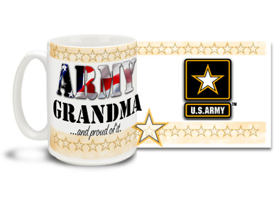 Show your pride in your United States Army Grandchild with this colorful Army Grandma and Proud of It coffee mug. U.S. Army mug also makes a great gift for your proud Grandmother! 15 oz Army Grandma Coffee Mug is dishwasher and microwave safe.