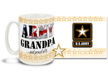 Show your pride in your United States Army Grandchild with this colorful Army Grandpa and Proud of It coffee mug. U.S. Army mug also makes a great gift for your proud Grandfather! 15 oz Army Grandpa Coffee Mug is dishwasher and microwave safe.