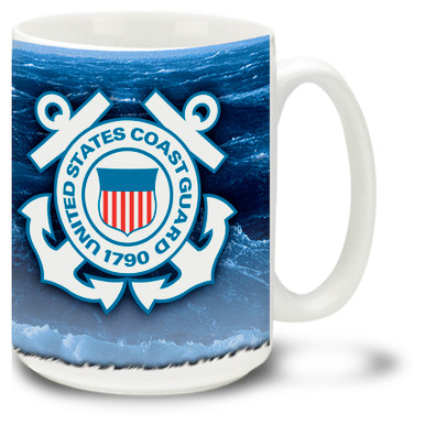 Show your pride in the United States Coast Guard with this Coast Guard mug with approved crest. 15oz Coast Guard coffee Mug is dishwasher and microwave safe.