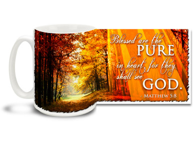 "Start each day down the right path with this beautiful Christian Inspiration coffee mug featuring the popular passage from Matthew 5:8 ""Blessed are the pure in heart, for they shall see God"". 15 oz Matthew 5:8 Inspirational Coffee Mug features a colorful woodland path and is dishwasher and microwave safe."