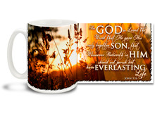 "Greet the sun every blessed morning with this beautiful Christian Inspiration coffee mug featuring the popular passage from John 3:16 ""For God so Loved the World that He gave His only begotten Son, that Whosoever Believeth in Him should not perish but have Everlasting Life"". 15 oz John 3:16 Inspirational Coffee Mug features a vibrant sunrise over a growing field of grain and is dishwasher and microwave safe."