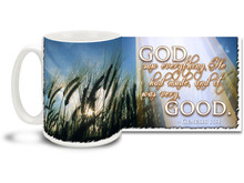"Celebrate all of the good in the world with this beautiful Christian Inspiration coffee mug featuring the popular passage from Genesis 1:31 ""God saw everything He had made, and it was very Good"". 15 oz Genesis 1:31 Inspirational Coffee Mug features blue skies and shining sun through a field of wheat and is dishwasher and microwave safe."