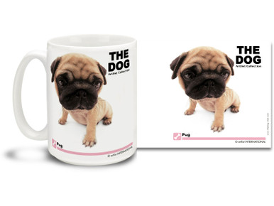 "Get up close and personal with your favorite dog breeds with ""The Dog"" mug featuring the popular Pug! The Pug is often described with the Latin multum in parvo, or ""much in little"", alluding to the remarkable personality, despite its small size. Colorful 15oz The Dog Pug coffee mug is dishwasher and microwave safe."