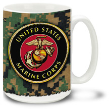 Show your pride in the United States Marine Corps with this USMC Mug with Marines-approved crest. 15oz Marines coffee mug is dishwasher and microwave safe.