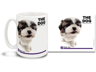"""Get up close and personal with your favorite dog breeds with """"The Dog"""" mug featuring the popular Shih Tzu! Shih Tzu lovers know these loyal and adorable canines are affectionate, outgoing, and alert. Colorful 15oz The Dog Shih Tzu coffee mug is dishwasher and microwave safe."""