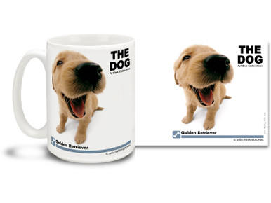 "Get up close and personal with your favorite dog breeds with ""The Dog"" mug featuring the popular Golden Retriever! Golden Retriever lovers know these loyal canines make great pets and are kind, friendly and confident. Colorful 15oz The Dog Golden Retriever coffee mug is dishwasher and microwave safe."
