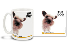 "Get up close and personal with your favorite dog breeds with ""The Dog"" mug featuring the popular Yorkshire Terrier! Yorkshire Terrier lovers know these pretty canines are a little fussy and spoiled, but very protective, curious and loving . Colorful 15oz The Dog Yorkshire Terrier coffee mug is dishwasher and microwave safe."