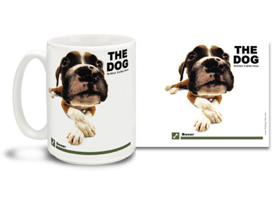 "Get up close and personal with your favorite dog breeds with ""The Dog"" mug featuring the popular Boxer! Boxer lovers know these handsome canines are bright, energetic and playful. Colorful 15oz The Dog Boxer coffee mug is dishwasher and microwave safe."