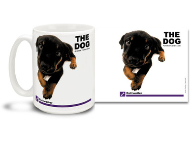 "Get up close and personal with your favorite dog breeds with ""The Dog"" mug featuring the popular Rottweiler! Rottweiler lovers know these handsome canines are good natured, placid and obedient. Colorful 15oz The Dog Rottweiler coffee mug is dishwasher and microwave safe."