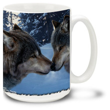 Two loving American Gray Wolves caught in an affectionate kiss on this colorful wolf mug. Common to the wilderness and remote areas of North America, the Gray Wolf is the sole ancestor of every domestic dog. 15oz Wolf Coffee Mug is dishwasher and microwave safe.