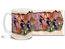 Kokopelli the fertility deity plays flute to chase away the winter and bring us the spring! Enjoy a sunny morning with this colorful Kokopelli & Spirals coffee mug. Vivid, swirly colors on this Kokopelli & Spirals Coffee Mug is sure to make this dishwasher and microwave safe cup a favorite!