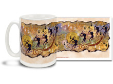 Kokopelli plays his flute to chase away the winter and bring us the spring! Enjoy a pleasant evening coffee with this colorful Kokopelli Moonlight coffee mug. Vivid, swirly colors on this Kokopelli Moonlight Coffee Mug is sure to make this dishwasher and microwave safe cup a favorite!