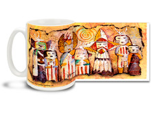 Mystical face masks and headdresses adorn the Ancient Family on this Native American themed coffee mug. Vivid, swirling colors on this Ancient Family Native American Coffee Mug is sure to make this dishwasher and microwave safe cup a favorite!