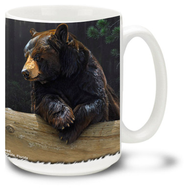 An American black bear enjoys a relaxing break in the wilderness on this black bear coffee mug. 15oz Bear Mug is dishwasher and microwave safe.