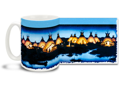 Bask in the warm glow of the home camp of traditional teepee dwellings on a cool night on this Native American themed coffee mug. Cool blues and contrasting yellow colors on this traditional themed Native American Coffee Mug is sure to make this dishwasher and microwave safe cup a favorite!