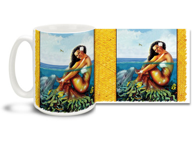 Get in the summer spirit with this cool retro styled Aloha Hawaii Mermaid mug! 15 oz Retro Mermaid Coffee Mug features rich colors and is dishwasher and microwave safe.