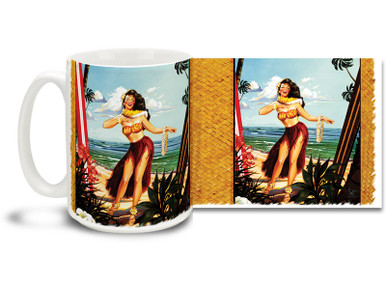 Let the summer move you with this cool retro styled Waikiki Hula Girl mug! 15 oz Waikiki Hula Girl Coffee Mug features rich colors and is dishwasher and microwave safe.