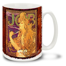 Job Poster - Alphonse Mucha - 15 oz Coffee Mug