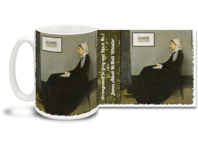 """Popularly referred to as """"Whistler's Mother"""", Arrangement in Grey and Black No.1 is a famed work by American-born painter James McNeill Whistler. One of the most famous works by an American artist outside the United States, it has been described as """"an American icon"""" and a """"Victorian Mona Lisa"""". Enjoy a cup of coffee or tea with Victorian sensibilities with this powerfully understated Whistler's Mother coffee mug. Beautiful James Whistler Mug is dishwasher and microwave safe."""