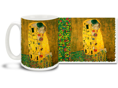 "The Kiss was painted by Gustav Klimt during the high point of his ""Golden Period"". A lovingly merged couple merges the styles of Art Nouveau and the earlier, organic Arts and Crafts movement on this beloved painting. Give your lips a morning treat with the dynamic, shimmering style of this Gustav Klimt The Kiss coffee mug. Beautiful Gustav Klimt The Kiss Mug is dishwasher and microwave safe."