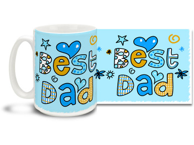 Little ones look up to their Dads in a way no other hero can imagine - show yours he's the Best with a Best Dad Coffee Mug! Perfect for Father's Day or anytime you want to give Dad a special gift. Fun, child-like lettering and bright colors on this 15 oz Best Dad Coffee Mug will make this dishwasher and microwave safe coffee cup your hip Daddy-O's morning favorite!