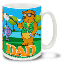 Dad Fishing Bear - 15oz Mug