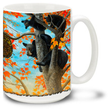 American black bears looking for some sweet honey in the trees. Unfortunately the bees aren't so happy to share on this bear coffee mug! 15oz Black Bear Mug is dishwasher and microwave safe.