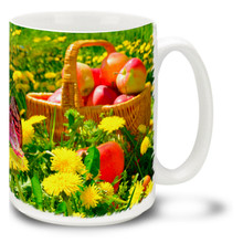 Mums and Apple Basket with Butterfly - 15 oz Mug