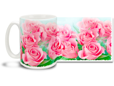 Surround yourself with pink roses on this pretty flower mug. Bright, vivid colors on this 15 oz Pink Roses Coffee Mug will make this dishwasher and microwave safe coffee cup a pretty in pink coffee time favorite!