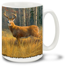 Deer coffee mug features Whitetail trophy buck in an amber field. 15oz Deer Mug is dishwasher and microwave safe.