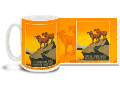 Enjoy the great outdoors with this historic and colorful WPA Poster The National Parks Preserve Wildlife coffee mug. Live a little closer to nature with this timeless and historic National Parks Preserve Wildlife art Mug which is dishwasher and microwave safe.