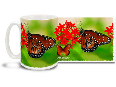 The Queen Butterfly is a North and South American butterfly that's orange or brown with black wing borders and small white forewing spots. The Queen Butterfly bears a striking resemblance to its cousin the popular Monarch. Enjoy the feel of an expansive green spring meadow on this pretty Queen Butterfly mug. Bright, vivid colors on this 15 oz Queen Butterfly Coffee Mug will make this dishwasher and microwave safe coffee cup a coffee time favorite!