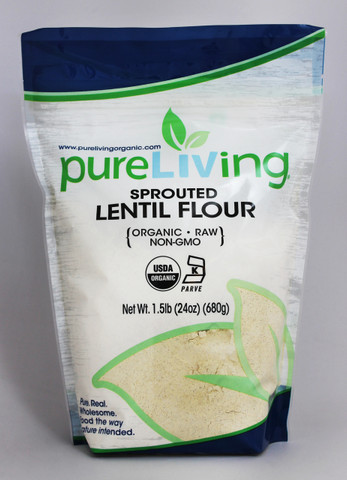 PureLiving Sprouted Lentil Flour / Organic, Kosher, Non-GMO, High Protein, Raw