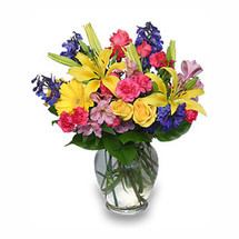 RAINBOW OF BLOOMS Vase of Flowers - A florists delightful array of colors!