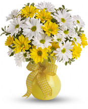 Upsy Daisy florist arranged in a cheerful yellow vase - Standard