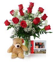 Dozen Roses Superhero by Winnipeg Florist Dragonfly Flowers One Dozen Roses, 15 Piece Rogers Chocolates and a Cuddly Bear