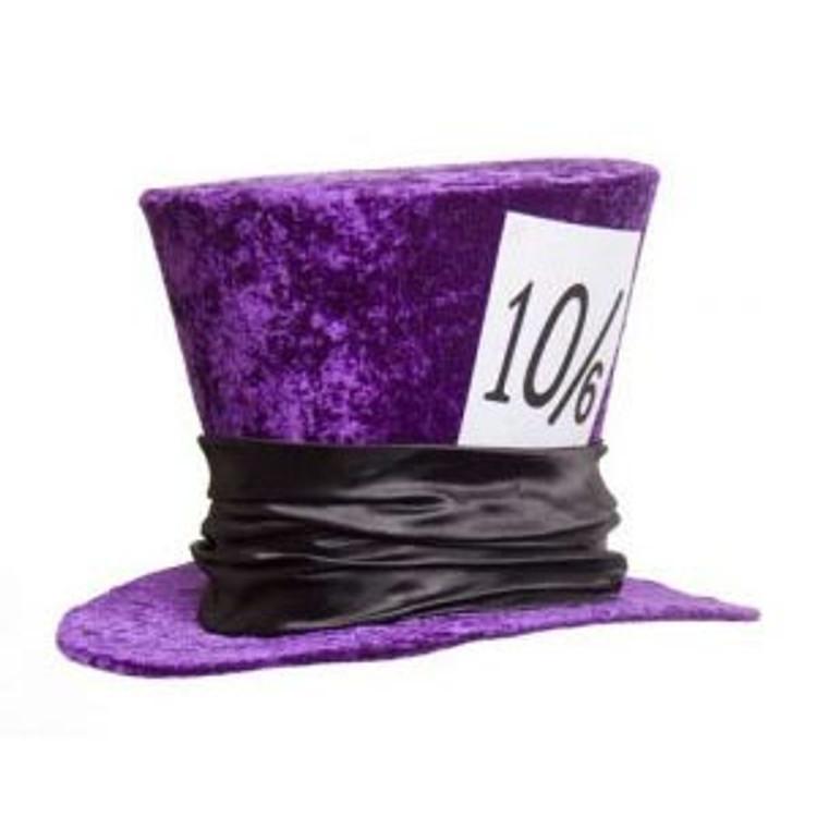 Mad Hatter Deluxe Velvet Top Hat - Purple