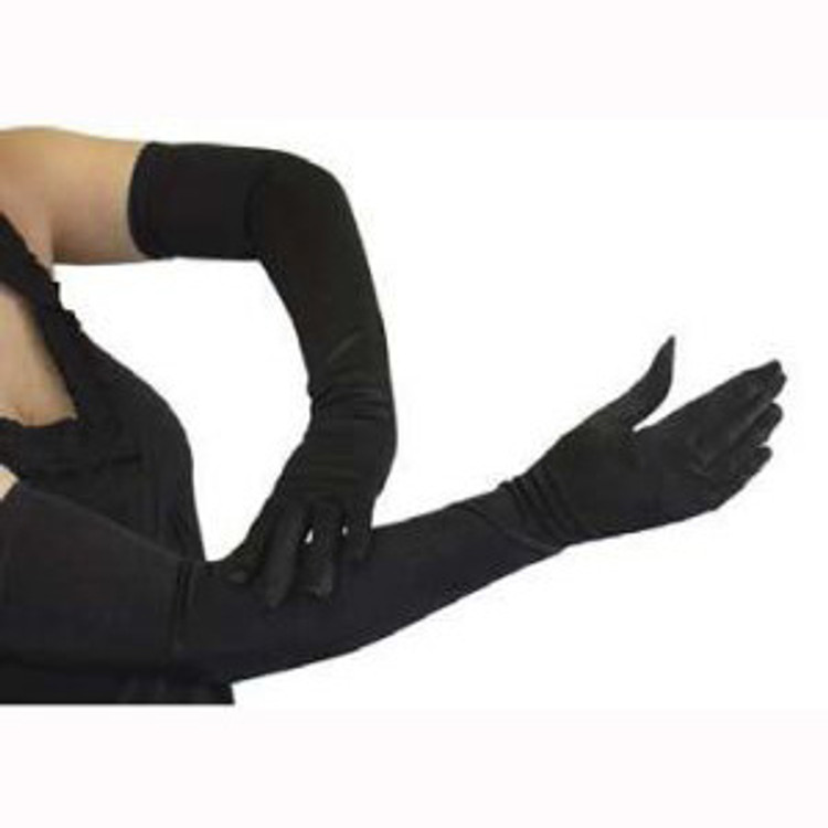 Black Satin Long Gloves