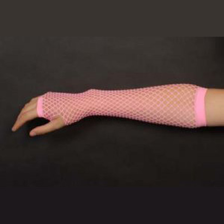 Fishnet Fingerless Gloves Long - Pink