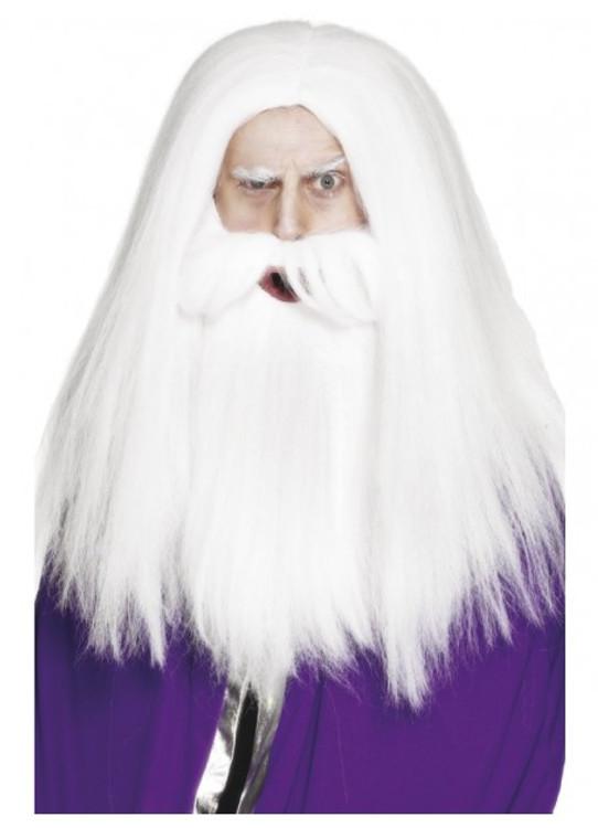 Magician White Wig and Beard Set