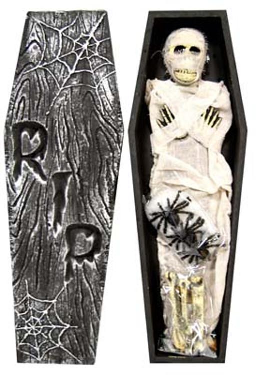 Coffin with Mummy, Spiders & Bones Deco Set