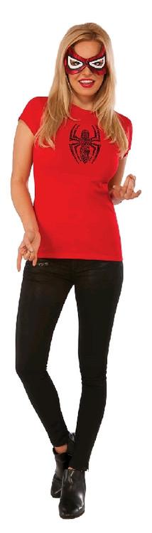 Spidergirl Rhinestone Womens T-Shirt