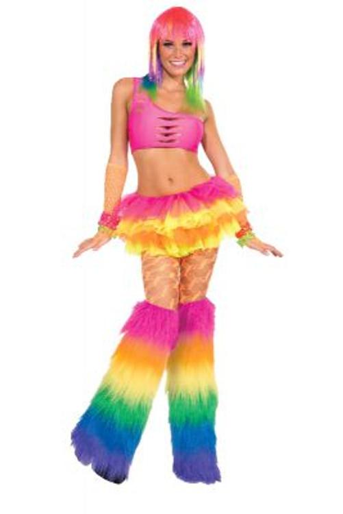 Rainbow Fur Leg Warmers